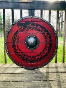 Medieval Wood & Steel Viking Round shield Larp Warrior Armor Templar Shield Gift