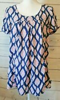 Anthropologie Holding Horses Ikat Top Size XS Blue Pink Pockets Oversized