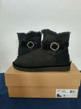 UGG Australia Karlie Black Brooch Swarovski Crystal Boots Women's size 9
