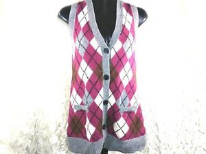 Cabi #155 s womens wool cotton button up cardigan sweater vest cardigan argyle