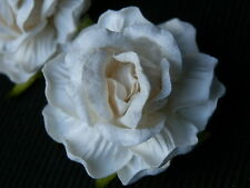 10 handmade IVORY WHITE Mulberry Paper ROSES 40mm WEDDING CRAFTS & DECORATIONS