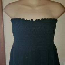 Vintage 70S 80S Black Terry Cloth Dress Tube Top Dress Coverup Skirt Miken