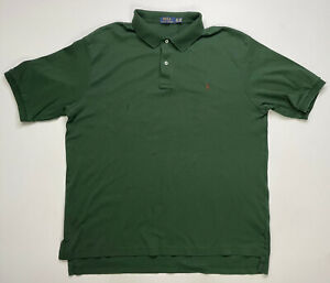 Polo Ralph Lauren Men's Polo Shirt Adult XLT Green Pony Brown Short Sleeve