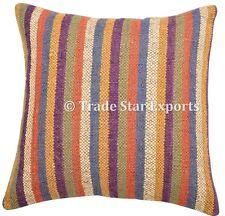 Indian Ethnic Vintage Kilim Cushion Cover Jute Decorative Rug Pillows Boho Shams
