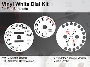 Fiat Barchetta (1995 - 2005) - 240kmh / 9000rpm - Vinyl White Dial Kit