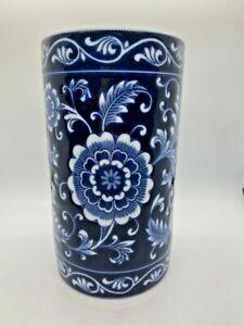 Pier 1 Imports Mandarin Cobalt Blue & White Floral Vase or Utensil Holder