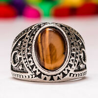 Simulated Sterling Silver Fashion Ring in Floral Design with India Agate Stone