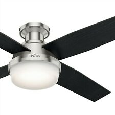 "52"" Contemporary Hunter Ceiling Fan with LED Light Kit and Remote Control"
