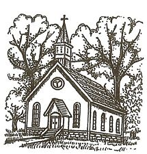 Country Church Small Wood Mounted Rubber Stamp NORTHWOODS C10267 New