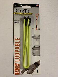"Nite Ize Gear Tie Loopable 12"" Neon Yellow Rubber Twist Tie w/ Loop (2-Count)"