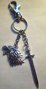 Game of thrones inspired keyring + free gift bag. Jon Snow, dire wolf, longclaw.