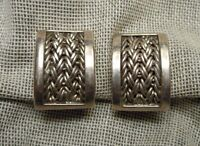 Lois Hill Sterling 925 Modernist Curved Rectangular Woven Chain Clip Earrings