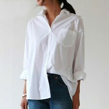 Casual Loose Women Shirts Plus Size Blouse Long Sleeve Pocket Snowy White Shirt
