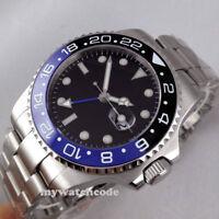 43mm PARNIS black dial GMT Datum Herren Automatikuhr Saphirglas Uhr mens watch