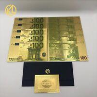 """10 Banconote Dorate """"color"""" da 100€, Euro Gold, Collezione, Regalo, Laminate oro"""