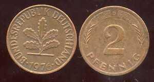 ALLEMAGNE  germany   2 pfennig  1976 D
