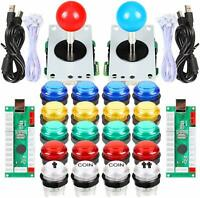 2 Player Arcade DIY Kit Part USB Encoder To PC Game Joystick 5V LED Push Buttons