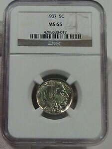 BU GEM 1937 Buffalo Nickel NGC MS65.  #36
