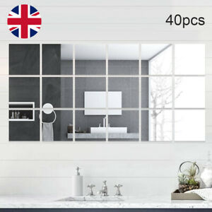 40Pcs Self Adhesive Square Glass Mirror Tiles Wall Sticker Home DIY Decor