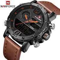 Naviforce 9134 Herren Sportuhren Militär PU Leder Analog Quarz Armbanduhr Neu