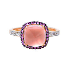 Beautiful 18k Rose Gold Pink Quartz, Pink Sapphire & Diamond Ring