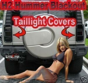2003-2009 H2 HUMMER Blackout Taillight Kit Smoked Covers SUT or SUV