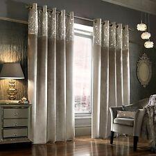 Kylie Minogue ESTA Silver - Designer Eyelett / Ring Top Velvet Lined Curtains