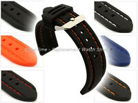 Mens Silicon Rubber Waterproof Divers Watch Strap Band SS. Buckle Spring Bars