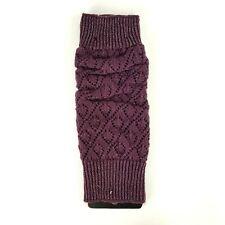 Winter Warm Knit High Knee Leg Warmers Crochet Boot Sock Slouch Shimmery Purple