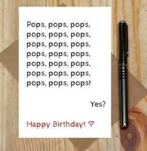 Pops card - funny birthday card for pops - pops birthday card - toddler card