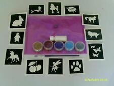 Niñas Conjunto de tatuaje purpurina incl. Stencils + brillo caso + + Pegamento