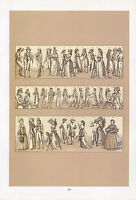 Vintage Moda Traje Estampado ~ Europa Late 18th Siglo Alemania Inglaterra