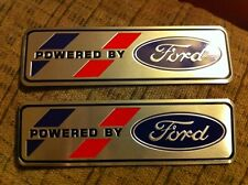"POWERED BY FORD FRONT FENDER TRUNK DECKLID VALVE COVER EMBLEMS PLAQUES PAIR ""B"""