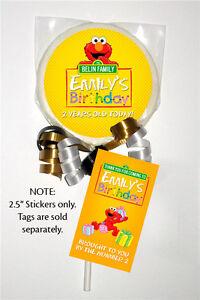 "12 Elmo Sesame Street Birthday Party Favors 2.5"" Personalized Lollipop Stickers"