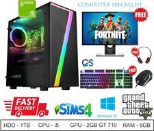 Super FAST Intel Core i5 Gaming PC Bundle 8GB RAM 1TB HDD Windows 10 GT 710 2GB