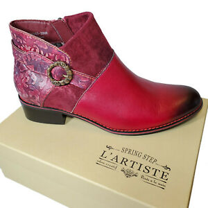 L'Artiste Burgundy Red Leather Bootie Boho Chic Boot Shoe Sz 37 38 39 40 41 42