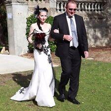 Black/White Gothic Mermaid Wedding Dresses Bridal Gowns Prom Evening Dress Satin