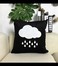 Cloud cushion cover, rain cloud, black, velvet, white, monochrome, raindrops