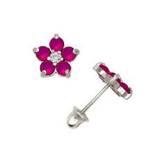 Ruby Flower Cluster Stud Earrings Child Safe Screw Back 14K Solid White Gold