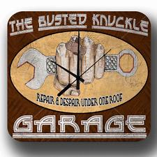 BUSTED KNUCKLE GARAGE VINTAGE RETRO WORKSHOP MAN CAVE METAL TIN SIGN WALL CLOCK