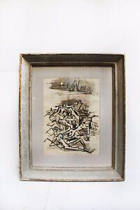 """Paul Colin - dessin """"Dante n'avait rien vu"""" encadrement bois peint gris."""