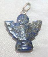 Blue Lapis Lazuli Crystal Gemstone Angel Pendant Reiki Blessed Silver Plated New