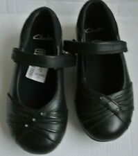 BN CLARKS MOVELLO BLACK LEATHER GIRLS DOLLY SCHOOL SHOES - Size 7.5 H