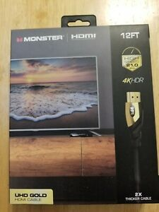 NEW - Monster Cable Ultra HD Gold High Speed HDMI Cable 1080p 4K UHD - 12 ft
