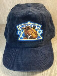 Vintage Joe Camel Snapback Cap Corduroy Blue Smooth Character size adjustable