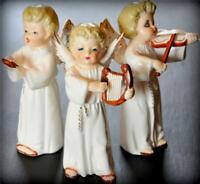 "Vtg 5"" Napco Christmas Angel Lot Harp Violin Choir Girl Figurines w/ Instruments"