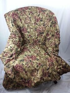 Green & Maroon Floral Chair Armchair Cover Patterned Fabric Poly Cotton RN 15288