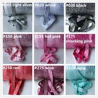 2m Premium Fold Over Elastic 15mm SILVER SWIRLS Headband FOE, Craft UK seller