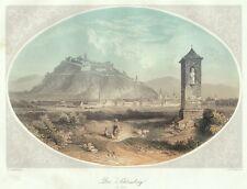 Graz mit Schlossberg, Österreich, altkolorierter Original-Stahlstich von 1858