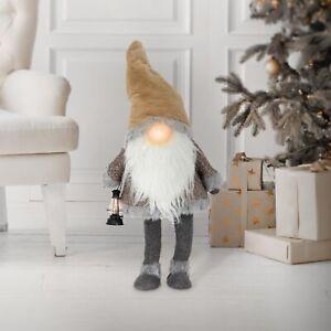 Peluche gnome pour Noël figurine d'elfe lanterne LED à piles sans visage 80 cm